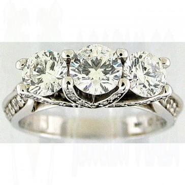2.30Ctw Ladies Three Stone Diamond Ring