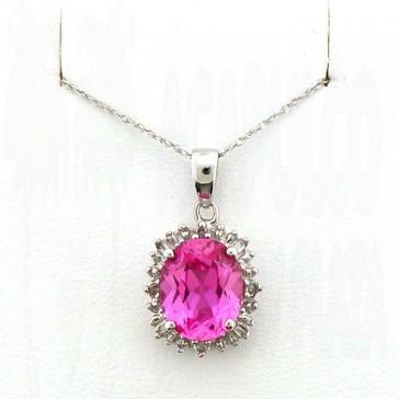 Gem Pink Topaz and Diamonds Ladies Pendant