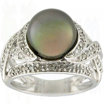 Pearl and Diamonds Ladies Right Hand Ring