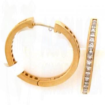 3.23ct Ladies Hoop Diamond Earrings