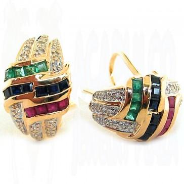 2.00Ctw Ladies Gemstone and Diamond Earrings 14K