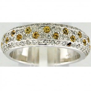 1.10Ctw Yellow Sapphires and Diamonds Ladies Ring