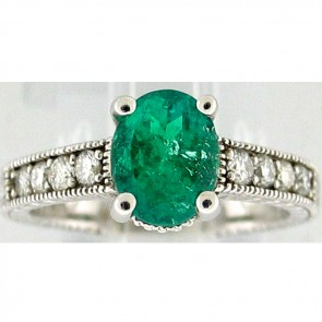 1.45Ctw Emerald and Diamonds Ladies Ring