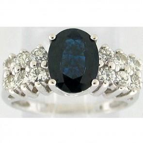 2.35Ctw Sapphire and Diamonds Ladies Ring