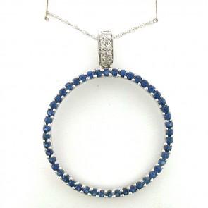 Blue Sapphires and Diamonds Ladies Circle Pendant 14K