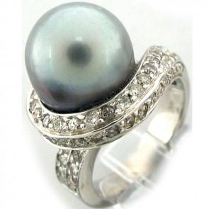 Tahitian Pearl and Diamonds Ladies Ring