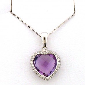 Gem Amethyst & Diamonds Ladies Heart Pendant