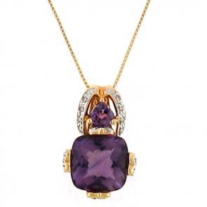 Fine Gem Amethyst & Diamonds Ladies Pendant