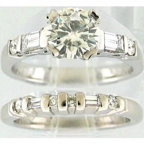 1.58Ctw  Ladies Engagement Diamond Ring Set