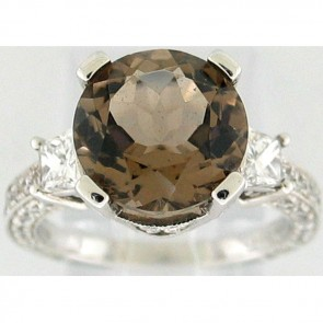 Smoked Topaz and Diamonds Ladies Ring