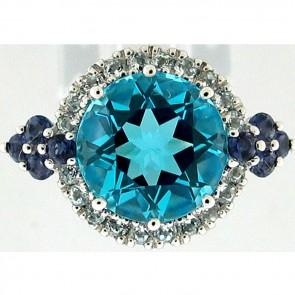 4.50Ctw Gemstone and Diamonds Ladies Ring