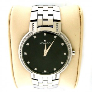 Movado 84 45 1891 Watch Black Museum Dial Stainless Steel Band